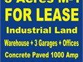 LAND INDUSTRIAL M-1 ZONE 4 LEASE 38000 SQ FT AVAILABLE NOW  WITH 4 TOILETS SHOWERS 6 OFFICES 3 P