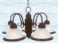 Commercial Electric Halophane 5-Light Nutmeg Chandelier-Installed recently but had to remove to ins