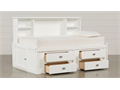 Living Spaces Summit White Twin Roomsaver Bed With 4-Drawer Storage Unitand a Sealy twin mattress