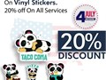 Save yourself from the high cost of vinyl sticker printing Get 20 discount on all stickers Your p
