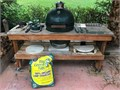 Big Green Egg Large table with casters all tools  accessories shown custom cover kept under co