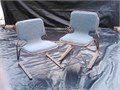 Three Stackable Chairs wit blue seat cushions All three for 1500   Call 714 484-9246