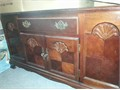 Will Trade CHINA CABINET like new Cherrywood finish glass cabinet with lights from above 2 draws w