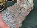 This watch is stainless steel and is encrusted in diamond look stones giving it a luxury look and fe