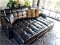 Brand new black tufted leather adjustable recliner sectional sofa  5 pieces lounge sofa 2 arm res