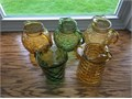 Variety of Vintage Glass Pitchers Approx 9  in height 1000 each