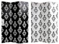 Canvas Damask Double-sided Black and White Room Divider reversible - Like New Used occasionally i