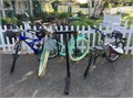 3 BIKES 3 HELMETS and 3 BIKE HOLLYWOOD RACK for 2 receiver  Bikes included are a Huffy Womens D