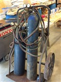 Acetylene torch tanks gauges hoses and cartLarge tanks