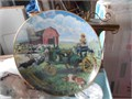 John Deere with farmer painting  on Plate plate is 8 12 inches Diameter  in great condition 10