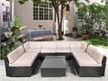 10 Pieces Patio PE Rattan Wicker Sofa Set Outdoor Sectional Furniture Conversation Chair Set with Cu