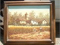 FRAMED OIL PAINTING farmhouse frame 27x24 painting 21x17 cash and carry