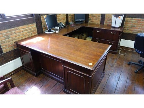 KIMBALL WOOD DESK U SHAPE