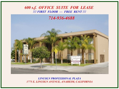 600 S.F. Office For Rent