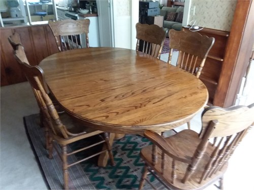 Dining Rm Set Oak 6 Chair