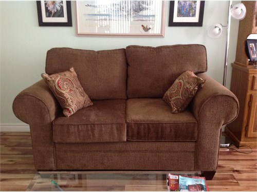 Love seat and pillows