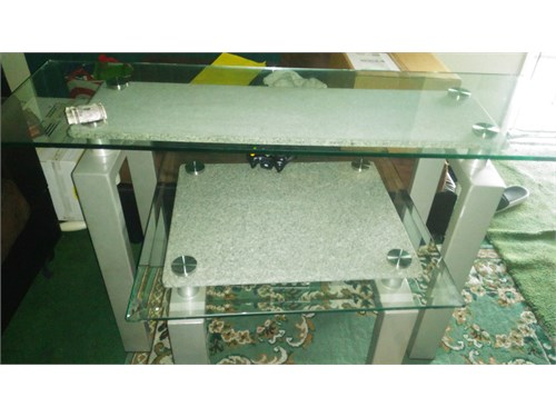 2 marble glass tables