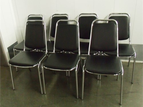 SET OF 7 METAL CHAIRS