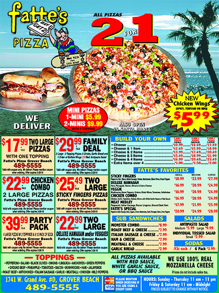 Fattes Pizza- Coupons Always Buy 1 Get 1 Free New Chicken Wings- Spicy Garlic BBQ or Teriyaki