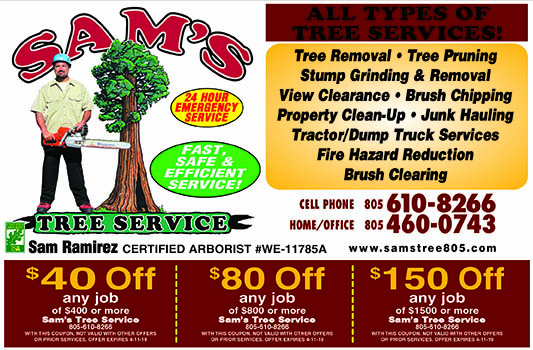 Sams Tree Service - Coupons  Over 20 years of Tree Maintenance experience Fast Safe Efficient s
