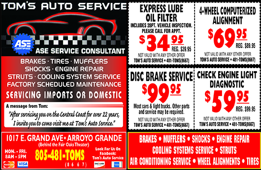 Toms Auto Service ASE Service Consultant Servicing Imports or Domestic Coupons Like us on Faceb