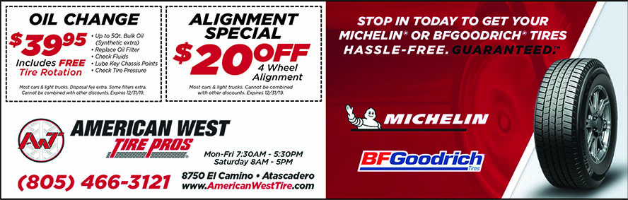 American West Tire Pros- Oil Change  AC Service Coupons  805-466-3121 8750 El Camino Real Atasca