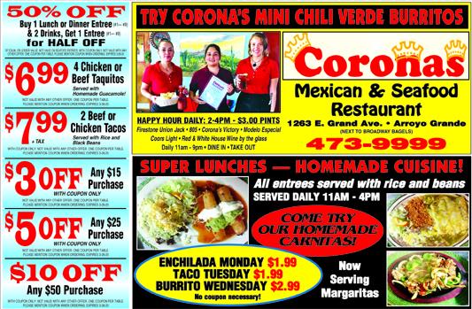 CORONAS MEXICAN RESTAURANT 1263 E Grand Ave Arroyo Grande 805-473-9999 Steak and Seafood Home