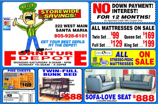 Furniture Depot 222 W Main St Santa Maria 805-928-6101-- We have it all All Stress-O-Pedic matt