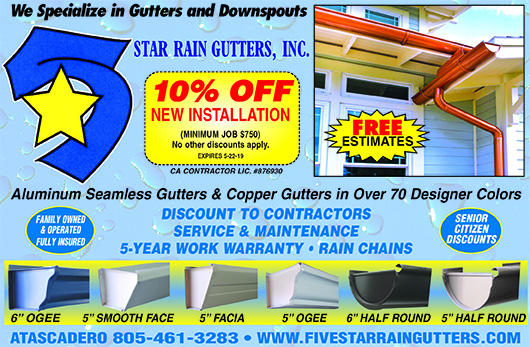 5 Star Rain Gutters- 10 off new installation coupon Call for full details and exclusions Free es