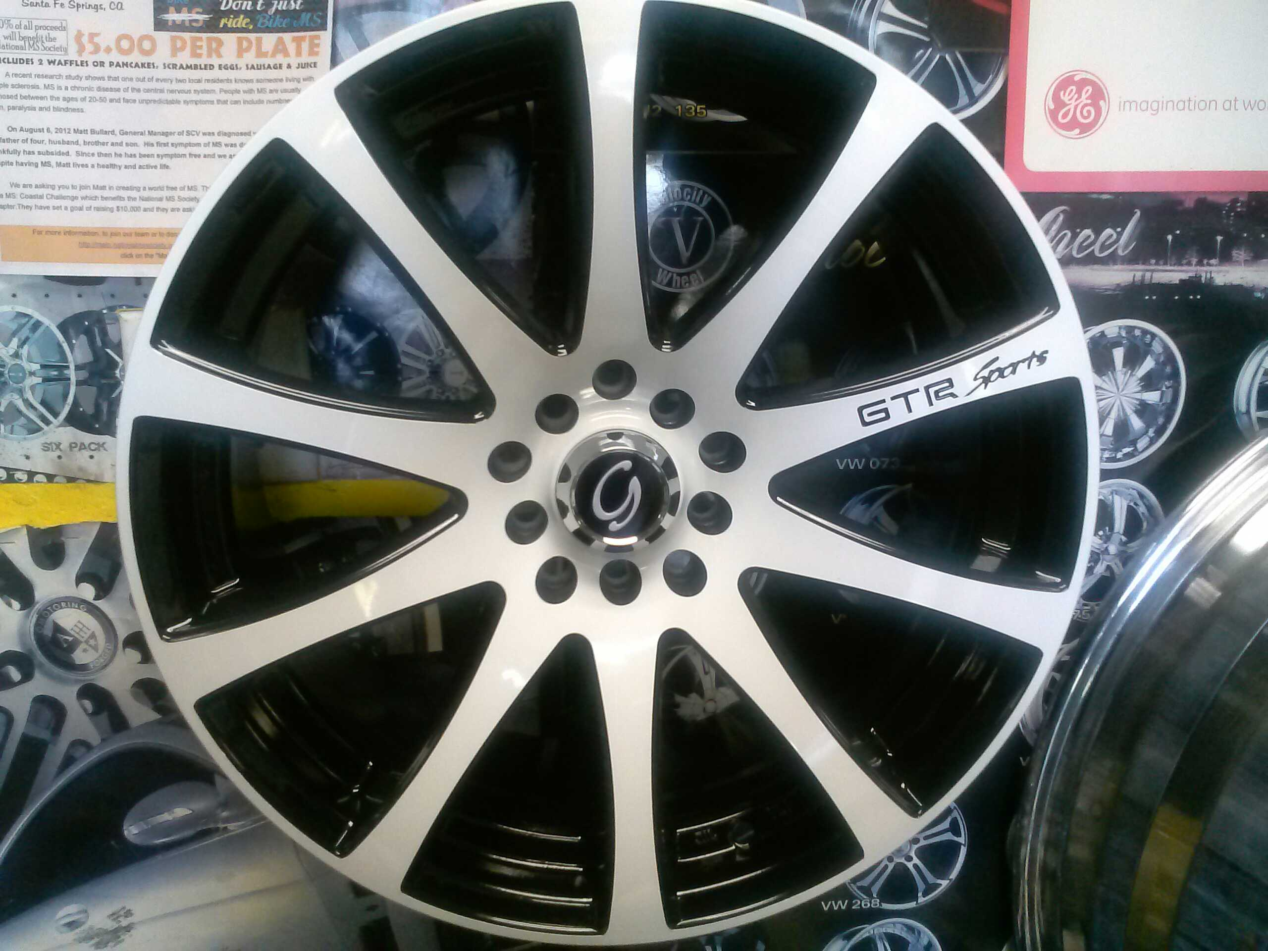17 Black wheel with white face from Glines White Diamond collection It has a bolt pattern of 5x10