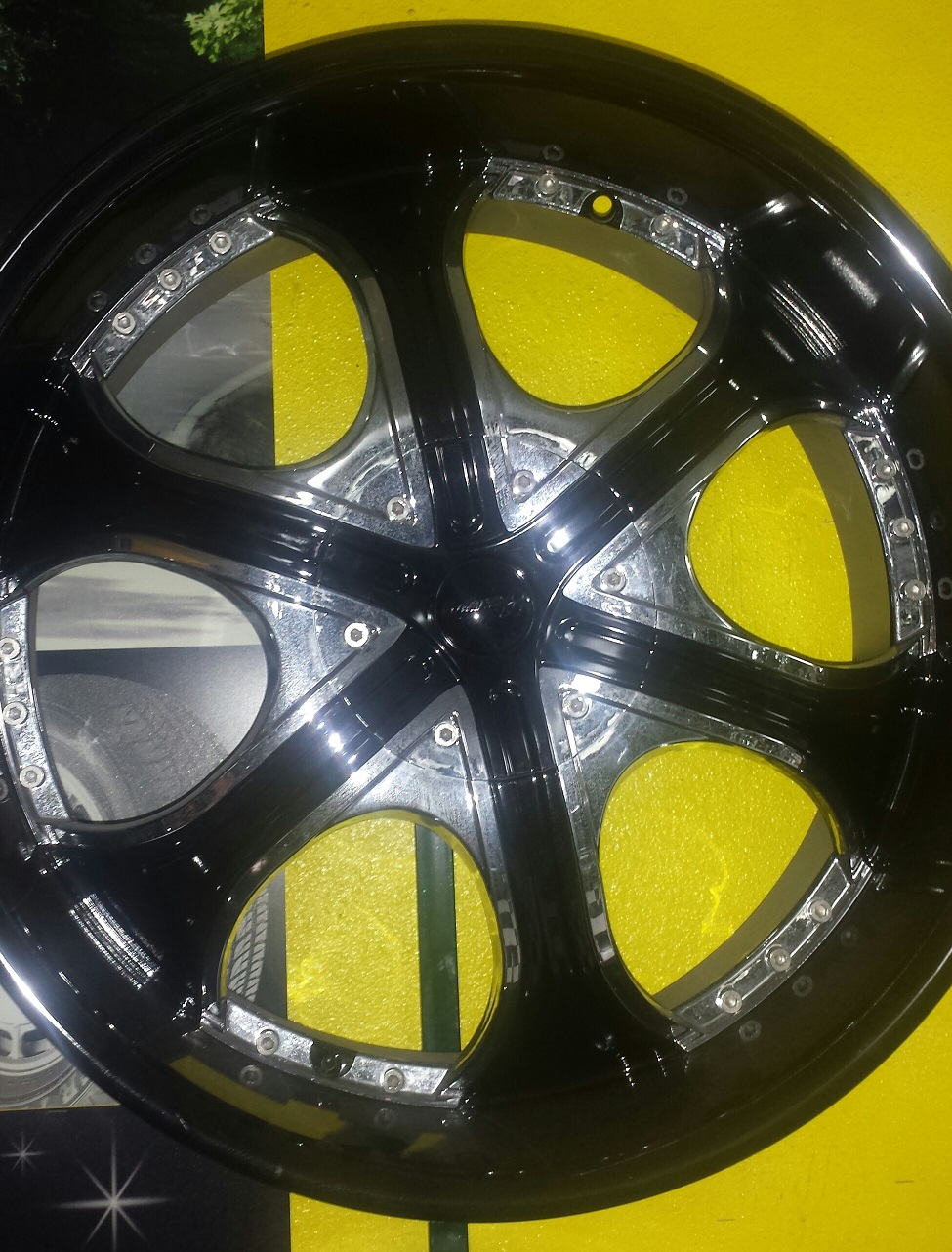 Special on wheels 22 Gazario Model 710 22x95 Black Rims with Chrome Inserts Offset 35 Blank to dr