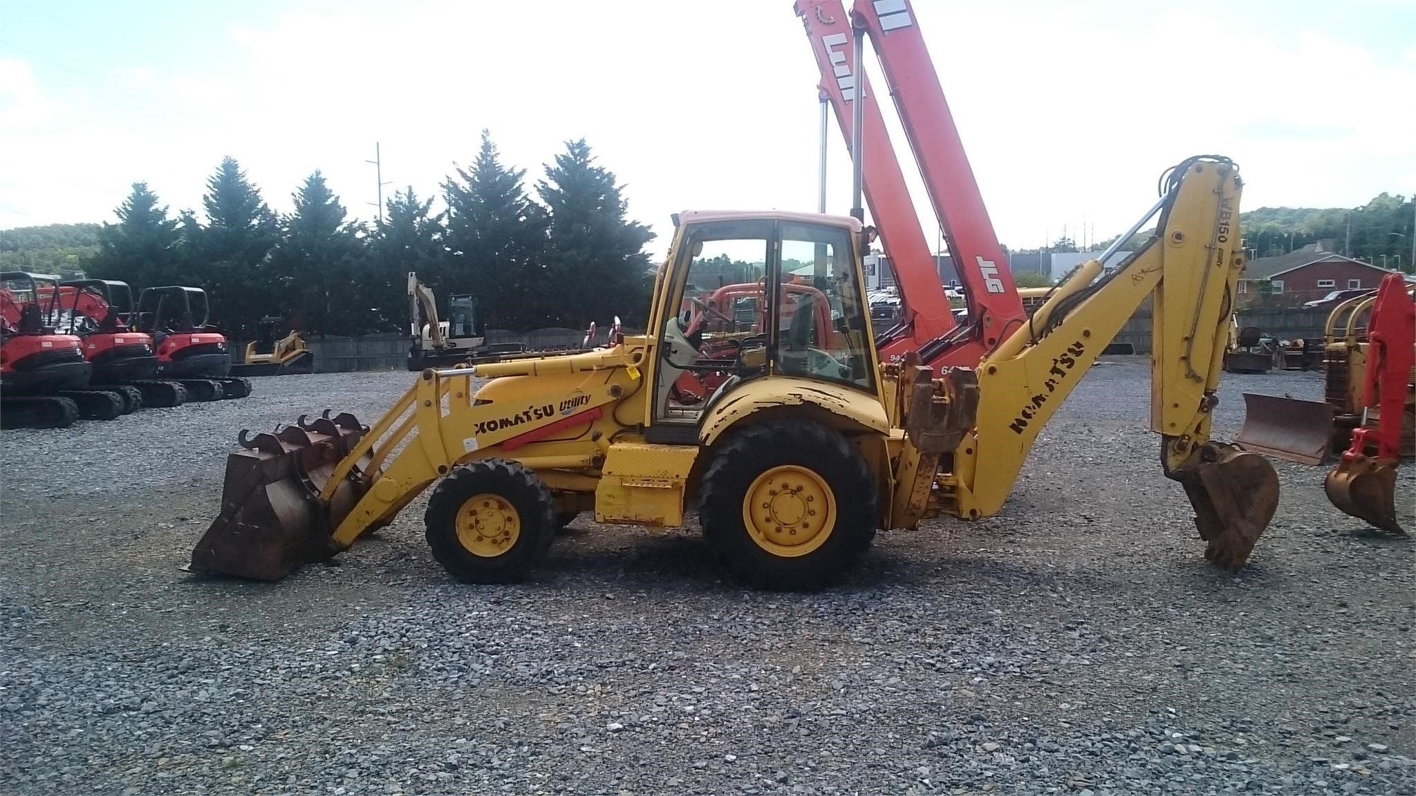 2003 KOMATSU WB150-2 ONE OWNER ENCLOSED CAB 4 WHEEL DRIVE EXTENDAHOE 2 STICK CONTROLS JOHN DEE