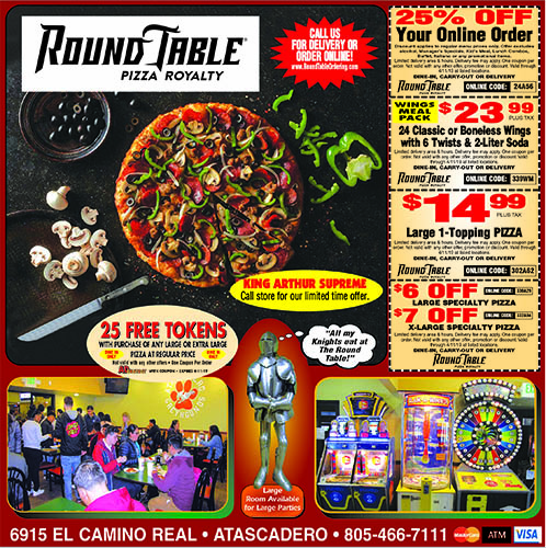 Round Table Pizza Coupons 25 off your online order with coupon Catering available Party Packages