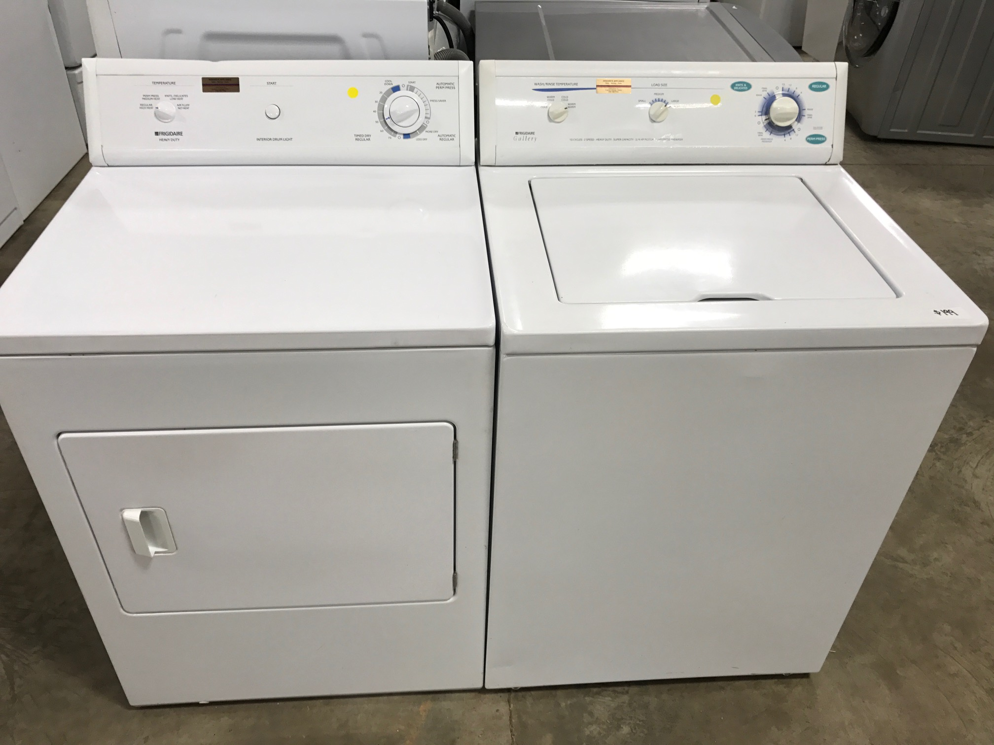 refurbished washer and dryer Frigidaire set with parts and labor warranty
