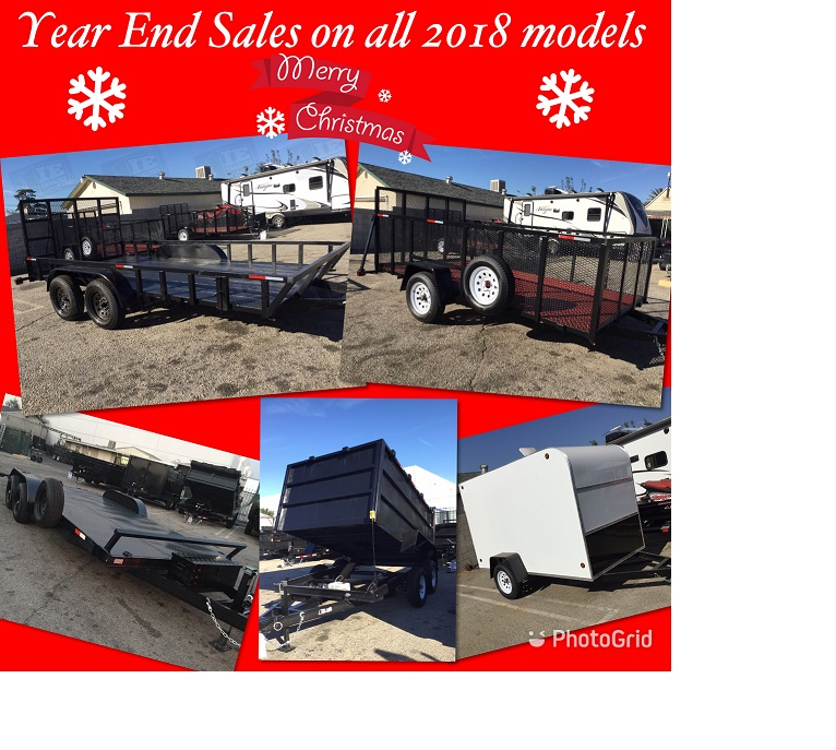 Come check out our End Year Sales on all 2018 trailersFree Tool Box with any trailer purchase for