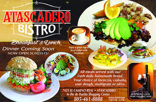 Atascadero Bistro invites you to enjoy breakfast and lunch and soon Dinner Enjoy a cup of coffee w