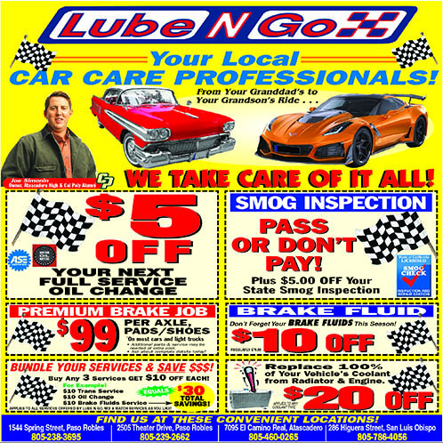 Lube N Go Car Care Coupons Bundle services and save Locations in San Luis Obispo Atascadero  Pas