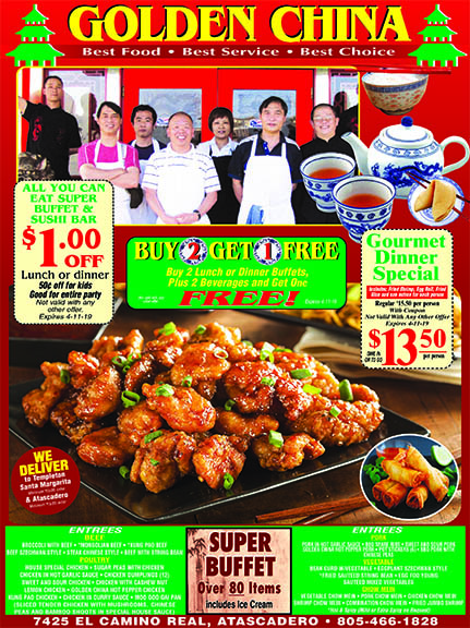 Golden China Coupons Buy 2 Get One Free Special See ad for details We Deliver More Fresh New C