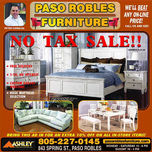 Paso Robles Furniture 805-227-0145 No Tax Sale Well beat any online price- Call us and see  See