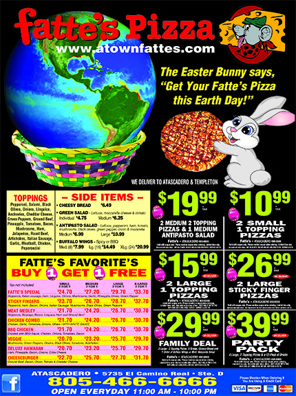 Fattes Pizza Always Buy 1 Get 1 Free Coupons We deliver to Atascadero  Templeton 805-466-6666
