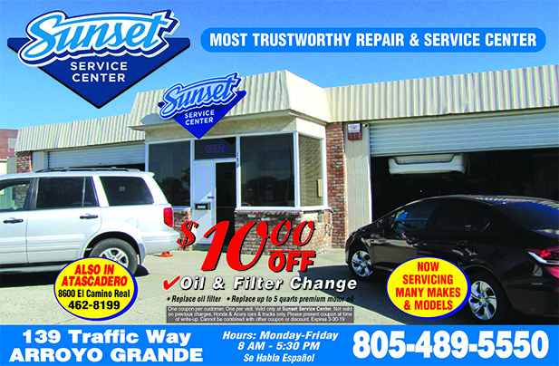 Sunset Service Center 139 Traffic Way Arroyo Grande Servicing many makes  models 10 off oil fi