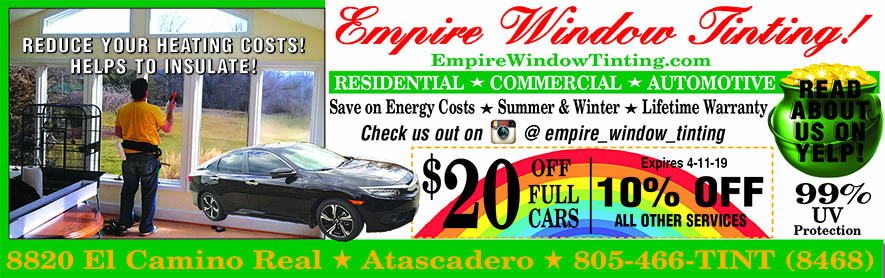 Empire Window Tinting Coupon and Savings 99 UV protection Save on energy costs in Summer and Wint