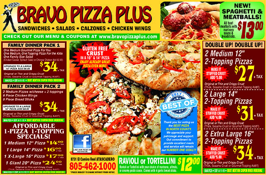 Bravo Pizza Plus - The finest Gourmet and Traditional Pizza Coupons New Spaghetti  Meatballs Off