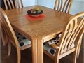 Solid Oak real wood dining room set with two leaves1st photo no leaves table dimension as shown