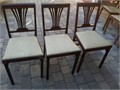 I have two sets 3 each of these mid-century Leg-O-Matic chairsThe mahogany are 1940s The beige