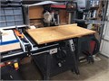 10 Radial Arm Saw built on saw dust collection compartment closed storage below orig owner sac