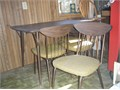 Kitchen Table4 chairs Wood look composite topmetal legsleaf Metal chairs with vinyl seats Good