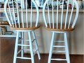 2 wooden swivel counter top bar stools 30 White frame with natural wood seats like new both fo