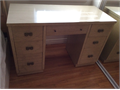Vintage Ash White Solid Wood 7-drawer Desk 48Wx2025Dx31H with a file drawer  in good condition b