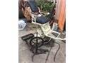 Circa 1910 dentalbarber chair w sink  spittoon treadle foot pedal misc drills  tools